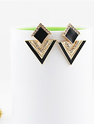 Kayshine Women's Black Delicate Personalized Punk Diamond Studded Triangle Earrings