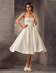 Lanting A-line Plus Sizes Wedding Dress - Ivory Tea-length Strapless Satin/Lace