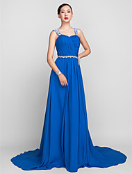 Formal Evening Dress - Ocean Blue Plus Sizes / Petite A-line Spaghetti Straps Sweep/Brush Train Chiffon