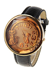 WELES Women's Cat Print Pu Leather Band Watch