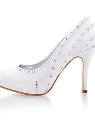 Satin Women's Wedding Stiletto Heel Pumps Heels with Rhinestone Shoes