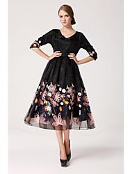 Women's Vintage Dress,Floral Midi ¾ Sleeve White / Black Spring / Fall