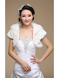 Fur Wraps / Wedding  Wraps Shrugs Short Sleeve Faux Fur Ivory Wedding / Party/Evening Open Front