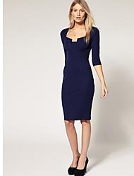 2014 Новый стиль 1/2 рукава Длинные Черный синий Bodycon платье