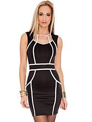 ML Plus Size New European Fashion noir et robe blanche moulante Patchwork Mini Star Party Dress 9066