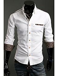 Blanc Leopard Print Tee shirt manches longues de A & W Hommes