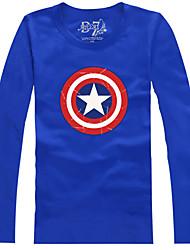 The Avengers Captain America Blau Polyester Langarm-T-Shirt Cosplay