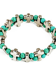 Fashion Green Bead Cross Chain & Link Bracelet(Random Color)
