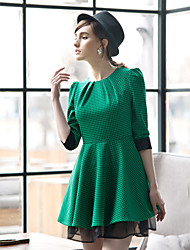 TS VINTAGE Contrast Color Swing Dress