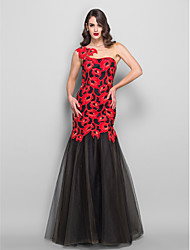 Formal Evening/Military Ball Dress - Multi-color Plus Sizes Trumpet/Mermaid Bateau Floor-length Tulle/Charmeuse/Lace