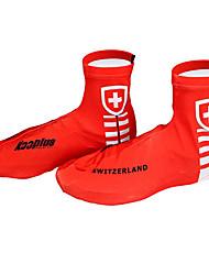 KOOPLUS - Swiss National equipe de poliéster + Lycra Vermelho + Branco ciclismo sapatos Capa