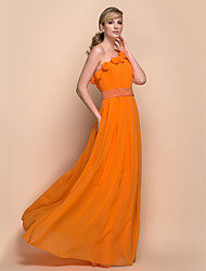 Floor-length Chiffon / Stretch Satin Bridesmaid Dress - Sheath / Column One Shoulder with Draping / Flower(s) / Pleats