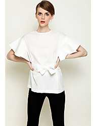 Loveplace Women's Fitted Ruffle Sleeve With Belt Shirt