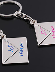 Personalized Engraved Gift a Pair Envelope Shaped Lover Keychain