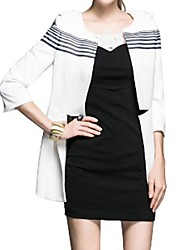 Women's White Coat , Casual/Work ¾ Sleeve/Long Sleeve Polyester