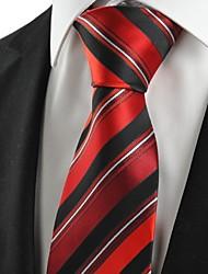De cravate de nouveau rayé rouge noir formelles hommes pour le cadeau de vacances de noce