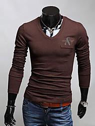v Die hohe Qualität V-Ausschnitt einfarbig Polohemd (braun)