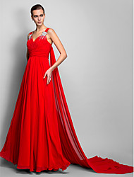 TS Couture® Formal Evening Dress - Vintage Inspired Plus Size / Petite A-line / Princess Straps Floor-length Chiffon with Beading