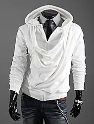 Shangdu Oblique Zipper com capuz (Branco)