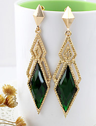 Pendientes de la forma Kayshine Green Diamond Lattice