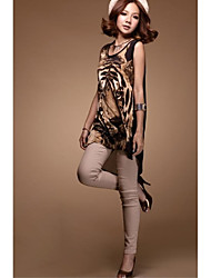 Women's Tiger Head Print Loose Anomally Long Vest