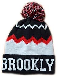 Pompom Beanie avec la rayure Knited Cap Keep Warm acrylique souple Tuque Bonnet à pompon Taille unique noir avec le blanc de New York