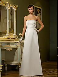 LAN TING BRIDE Sheath / Column Wedding Dress - Chic & Modern Reception Simply Sublime Floor-length Strapless Satin with Draped Pocket