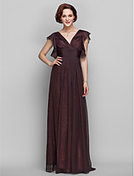 Lanting Floor-length Chiffon Bridesmaid Dress - Chocolate Plus Sizes / Petite Sheath/Column V-neck