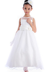 Formal Evening / Wedding Party / Vacation Dress - Ivory A-line Bateau Tea-length Cotton / Organza