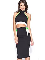 Vestido europeo y americano Diseño Sexy Plus Tamaño de la longitud de la rodilla del vendaje de 9051