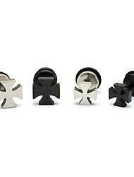 Fashion (Cross Shape) Multicolor Titanium Steel Stud Earrings(Silver,Black) (1 Pc) Christmas Gifts