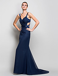 Mermaid / Trumpet Straps Sweep / Brush Train Chiffon Formal Evening Military Ball Dress with Side Draping by TS Couture®