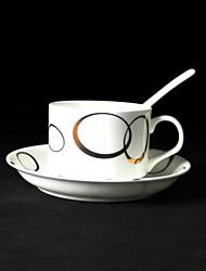 Golden Circle Coffee Mug,Porcelain 5oz