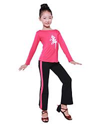 Dancewear Japanese Cotton Ruffle Swing Round Neck Ballroom Dance Top For Kids