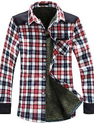 Men's Check Pattern Warm Velvet Shirt
