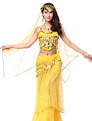 Dancewear Bling Chiffon Beading Sequined Belly Dance Outfits With Coin Belt & Veil(More Colors,Top & Bottom)