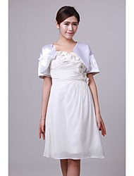Wedding  Wraps Shrugs Short Sleeve Satin White Wedding Bow