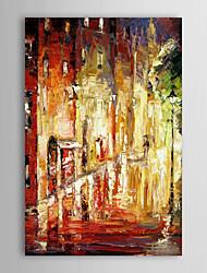 Mano óleo pintada Pintura Paisaje lluvioso de la calle con el marco de estirado