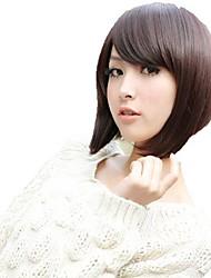 Korea Capless Short Straight Dark Brown Synthetic Side Bang Wigs