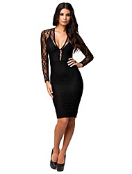 Women's Solid/Lace Dress , Sexy/Lace/Party Deep V Sleeveless Lace