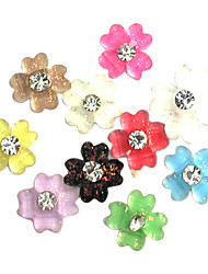 50PCS Mixed-Color Crystal Plum flower UV Nail Art Decal Decorations