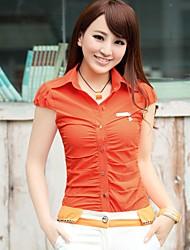 Women's Solid Blue/Orange/Pink/White Shirt Collar ¾ Sleeve