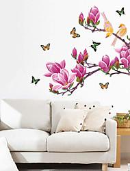 Pourpre de fleur de magnolia Papillons Stickers muraux
