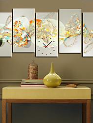 Modern Style Abstract Art Clock in 5pcs tela