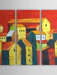 Main peinture à l'huile peinte Paysage magnifique ville avec Set cadre tendu de 3