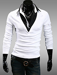 gezi Men's Two Piece Fashion Slimming Long Sleeve T-Shirt