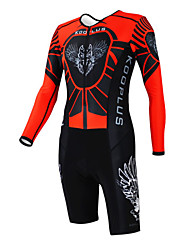 KOOPLUS - Triathlon Red+Black Wolf Long Sleeve Wear and Shorts Conjoined Cycling Clothing