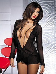 Sexy Stretch Lycra Short Backless Babydoll with Beads Embroidery and Matching Thong