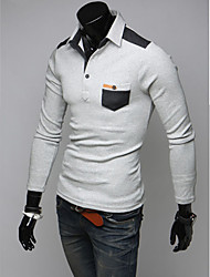 Men's Long Sleeve Polo , Cotton Casual
