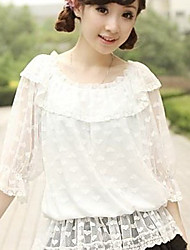 White Lace Loving Heart Pattern Sweet Lolita Blouse